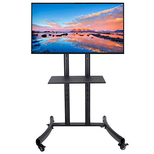 CO-Z Mobile TV Cart for LCD LED Plasma Flat Panel Stand Mount with Lockable Wheels Mobile fits 32'' to 65'' by CO-Z