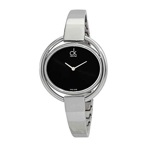 Calvin Klein Women's Quartz Watch with Black Dial Analogue Display Quartz Stainless Steel K4°F2N111 (For Watch Ck Women)