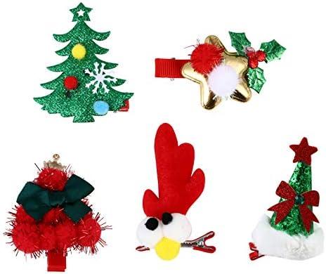 Beaupretty Kerstmis haarspelden pom pom kerstman haarspelden rendier haarspelden pluche haarspeld Kerstmis haaraccessoires voor meisjes 5 stuks willekeurige stijl