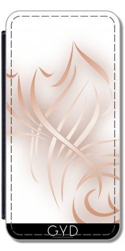 Leder Flip Case Tasche Hülle für Apple Iphone 7 Plus / 8 Plus - Roségold Effekt Weiß Abstrac by Nina Baydur