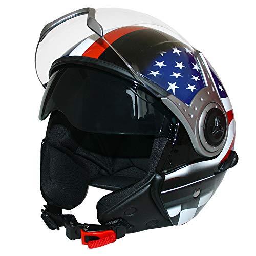 3ceb5822 Leopard LEO-612 DOUBLE VISOR Open Face Motorbike Motorcycle Helmet Road  Legal - #6 USA M (57-58cm)
