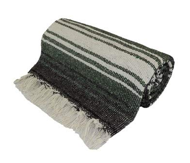 Kakaos Traditional Mexican Style Yoga Blanket (Dark Green)