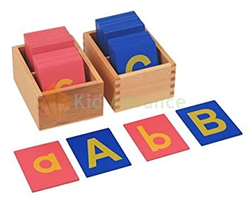 montessori lower and capital case sandpaper letters w boxes