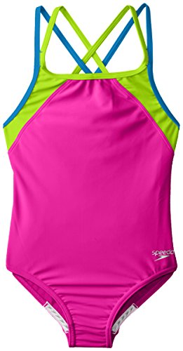 Speedo Big Girls Cross Back Splice 1 Piece, New Blush, 8