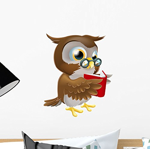 Wallmonkeys Cartoon Owl Reading Book Wall Decal Peel and Stick Graphic (12 in H x 10 in W) WM247426 -