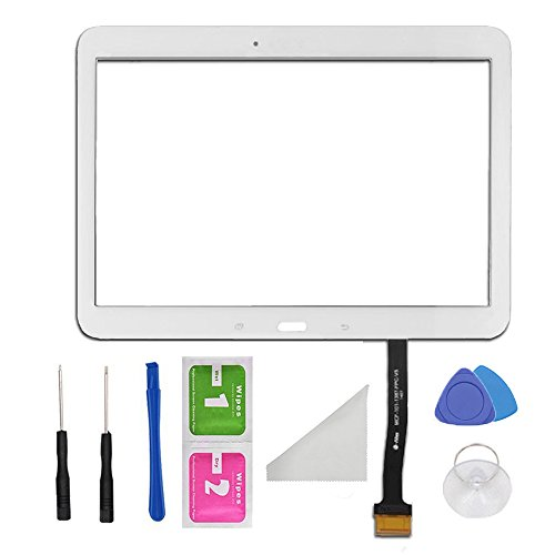 - White Touch Screen Digitizer Panel Glass Replacement Part For Samsung Galaxy Tab 4 10.1 SM-T530 T531 T535 PreInstalled Adhesive and Tools