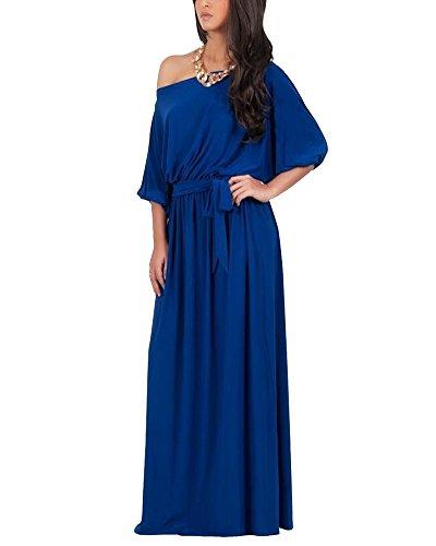 Vestido Para Mujer Largo Sin Hombro De Fiesta Cóctel Tallas Grandes Elegante Zafiro