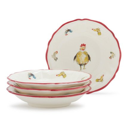 Sur La Table Jacques Pepin Collection Chickens Pasta Bowls 2016/22 , Set of 4