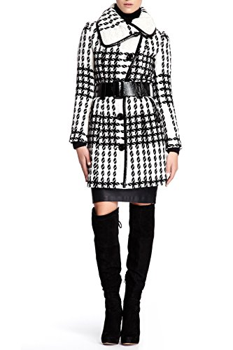 VERTIGO PARIS Women's Houndstooth Wool Blend Coat with Belt - Black - X-Large Button Down Leather Coat