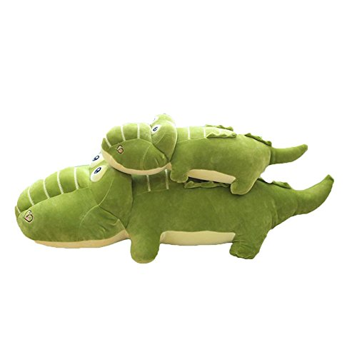Filled Alligator Pillow - Lovely Fashion Funny Charming Cartoon Pretty Stuffed Animals Green Crocodile Alligator Big Hugging Pillow Soft 3D Pom Pom Plush Toy Doll Ultra Cuddly Fabric Bed Nursery Decoration Gift for Kids