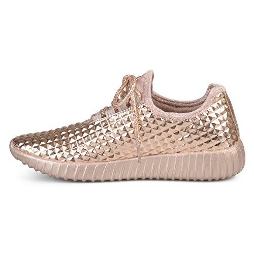 Sneakers Leggera In Rilievo In Pelle Sintetica Brinley Co Da Donna In Oro Rosa
