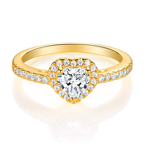 MDFUN Luxurious Yellow Gold Plated Cubic Zirconia Infinity Love Solitaire Promise Eternity Ring(5) Brass Gold Plated Ring