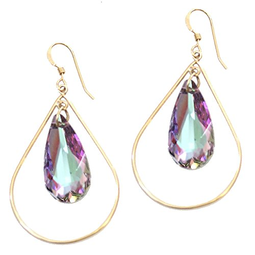 Sonia Hou Selfie Earrings, Swarovski Crystal Teardrop Earrings With 14K Gold Filled Teardrops Valentines day gifts for her Birthday Prom (Vitrail Light Color) (Vitrail Light)
