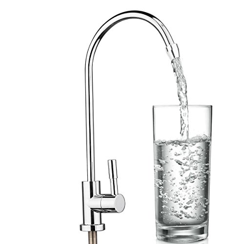 KINWAT 1pc 304 Stainless Steel Water Filter Faucet 1/4'' 360 Degree Chrome Osmosis Drinking RO Finish Reverse Sink Faucets by KINWAT
