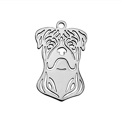 MegaPet 10pcs 304 Stainless Steel Pitbull Pendants Charms Doggy Animal Pet Collar Charm DIY Accessories for Bracelets Necklace Earring Jewelry Gifts for Animal Lovers, 25x16x1.1mm, Hole:1.5mm