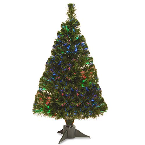 National Tree 32 Inch Fiber Optic Ice Tree in Green Stand with Multicolor Battery Operated LED Lights with Timer (SZI7-172-32B-1) ()