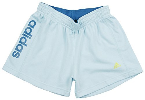 adidas Big Girls Striped Roll Over Shorts (X-Large (16), Light Blue/Vivd Teal)