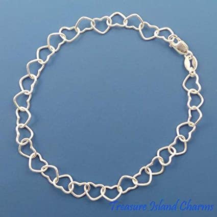 """ITALY Sterling Silver HEART LINK Chain Necklace//Bracelet-7/"""" 8/"""" 16/"""" 18/"""""""