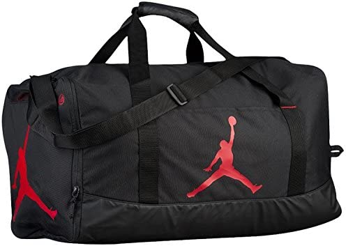 Nike Air Jordan Jumpman Duffel Sports Gym Bag Black Red 8A1913 Wet Dry Pocket Water Resistant