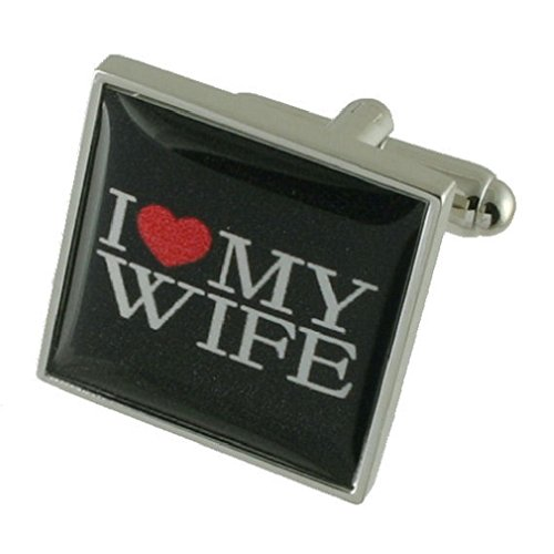 I Love My Wife Solid Sterling Silver 925 Cufflinks with optional engraved message box by Select Gifts