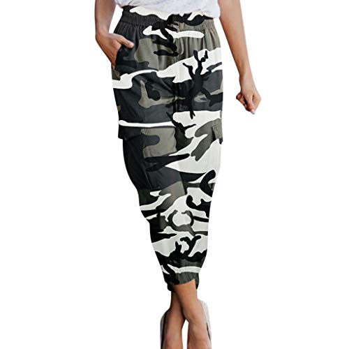 (Women Camo Jogger Pants Camouflage Print Lounge Pants Elastic Waist Comfy Casual Cropped Trousers with Pockets for Workout Running Sports)