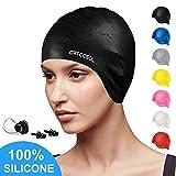 arteesol Swimming Cap, Silicone Swim Cap with Anti-Tear Anti-Slip Design for Long Hair Women and Men (Black)