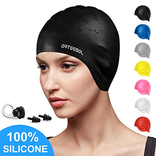 arteesol Swimming Cap, Silicone Swim Cap with Anti-Tear Anti-Slip Design for Long Hair Women and Men (Black) (Best Silicone Swim Cap)