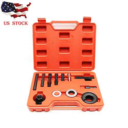 Besde Tools 12 pcs Automotive Pully Puller Remover Installer Tool Kit, Wheel Drive Bearing Adapters Replacement Power Steering Pump Alternator Pulley (Black) ()