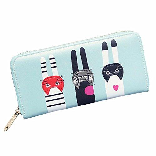 Women Wallet, Han Shi Women Cat Pattern Zipper Coin Purse Card Holders Long Wallet Handbag Flexible Wallet Large Travel Working Purse Pocket (Green)