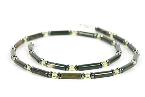 Bloodstone Necklace for Men, Natural Gemston, Peridot, Hematite Choker, Handmade Gemstone Jewelry
