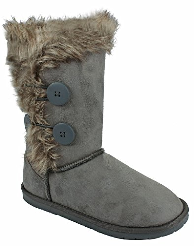 Kids Girls Tammy01 Grey Wooden Button Faux Fur Lined Shearling Mid Calf Winter Boots-2