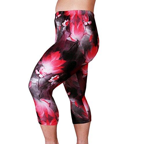 Zerdocean Women's Plus Size Lightweight Printed Capri Leggings style-020 2X