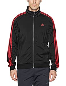 adidas Men's Essentials 3-Stripe Tricot Track Jacket, Black/Scarlet, Small