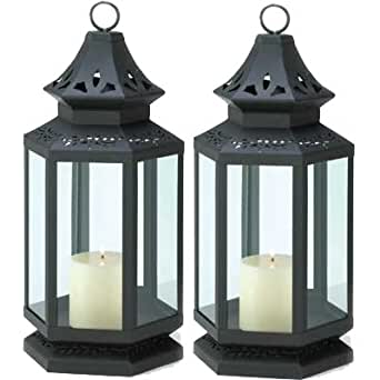 Amazon.com: Large Black Candle Lantern Set of 2: Home ...