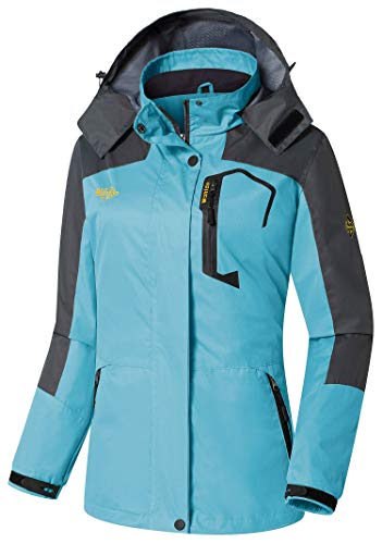 Wantdo Women's Breathable Windproof Snap Button Closure Mountain Jacket Blue US XL