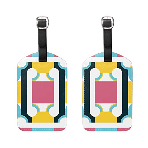 Luggage Tags,Leather Name ID Labels Travel Bag Suitcase,Geometric Design Series Poster