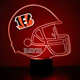 Mirror Magic Store Cincinnati Bengals Football Helmet LED Night Light with Free Personalization - Night Lamp - Table Lamp - Featuring Licensed Decal