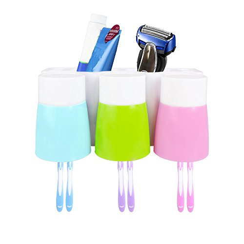 Toothbrush Holder STARVAST Bathroom Plastic Anti-dust Easily Wall Mounted Toothbrush Storage Set with 3 Cups for Wash Supplies & Electric (Teeth Replacement Adult Adhesive)