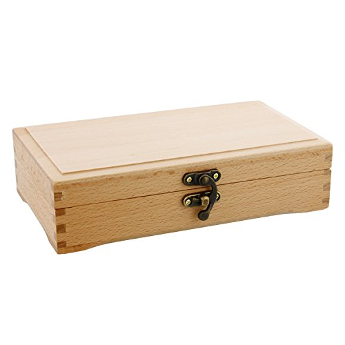 US Art Supply Small Beechwood Artist Tool and Brush Storage Box with Locking Clasp