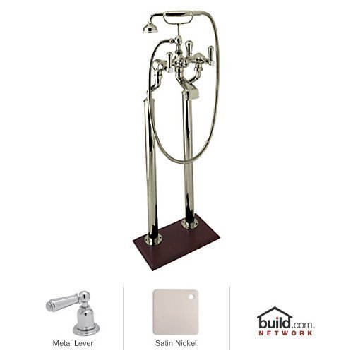 Rohl U.3012LS/1-STN Georgian Era Floor Standing Exposed Tub Filler Faucet with Hand, Satin Nickel (Georgian Era Exposed Bathtub)