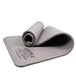 Phoenix Fitness Exercise NBR Fitness Yoga Mat – 12mm Extra Thick Anti Slip High Density Fitness Mat – Double Sided Multi…