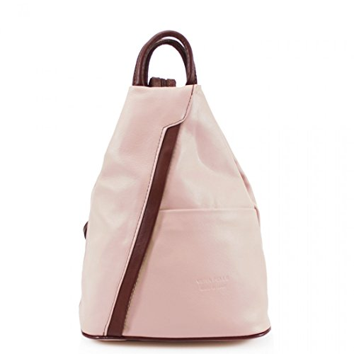 Shoulder PELLE Rucksack VERA Brown leather straps geniune Grab Soft Backpack Adjustable Bag handles Leather Pink Pdqy4Kq