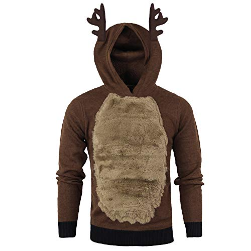 Men Autumn Winter Xmas Hoody Reindeer Feather Hooded Christmas Fleece 3D Tops Brown]()