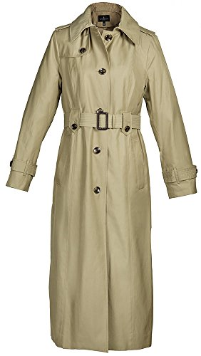(London Fog Ladies Maxi-Length Single-Breasted Raincoat 'Khaki' Color - S)