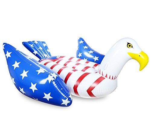 Mimosa Inc American Flag Bald Eagle Inflatable Premium Quality Giant Size Pool Float ()