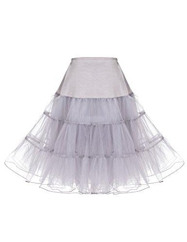 Dressystar Women 50's Vintage Rockabilly Petticoat Net Underskirt 26'' Length Tutu Gray Large by Dressystar