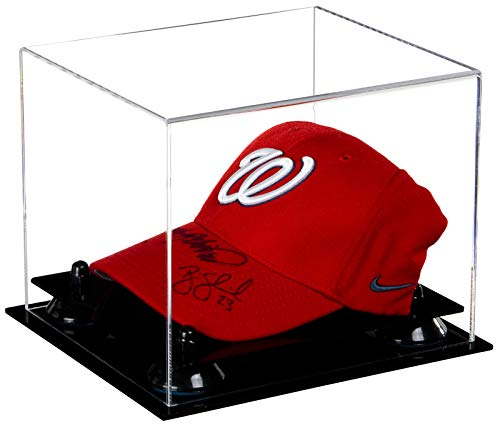 Cases Display Mlb Hat (Deluxe Clear Acrylic Baseball Cap Display Case with Black Risers (A006-BR))