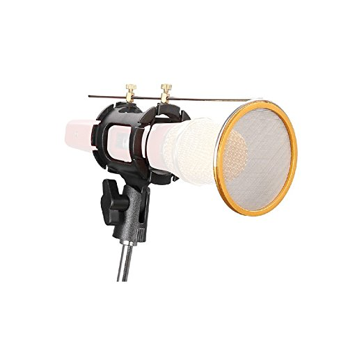 CISNO Studio Condenser Mic Microphone Shock Mount With Metal Wind Screen Pop Filter Combo Mask Shield For Recording