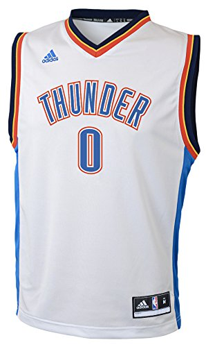 NBA Oklahoma City Thunder Russell Westbrook Youth 8-20 Replica Home Jersey, Small, White Jackson Youth Jersey