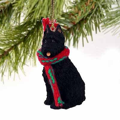 Bouvier Dog Figurine - 1 X Bouvier Des Flandres Miniature Dog Ornament - Cropped Ears